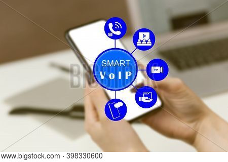 Smart Voip Voice Over Internet Protocol Technology On Mobile Smart Phone Device App Via Digital Comp