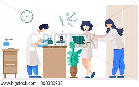 Professional Chemists In Their Laboratory Makes Different Experiments On The Table. Female Medical W