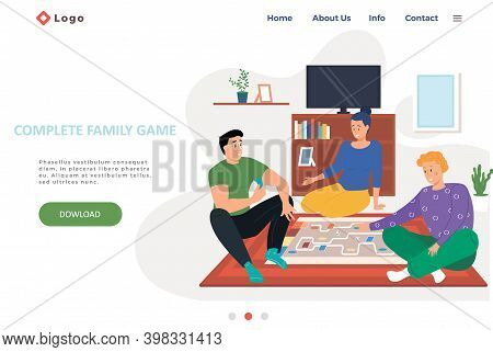 Complete Family Game Landing Page Template With Happy Family Or Friends Playing Logic Strategic Game