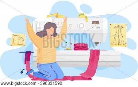 Designer Is Planning A Model Of Clothes. A Seamstress Works With Sewing Machine In A Studio For Tail