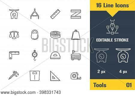 Measurement Tools, Scales Weighing. Thin Line Icon - Outline Flat Vector Illustration. Editable Stro