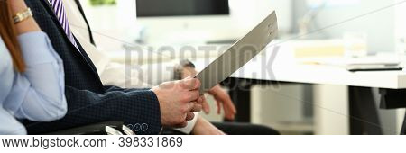 Focus On Biz People Hands Holding Paper Tablet With Important Business Project That Determine Future