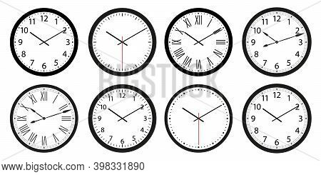 Set Of Pointer Wall Clocks With Black Frame And Hands. Flat Style Vector Illustration. Simple Classi