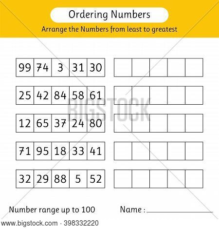 Ordering Numbers Worksheet. Arrange The Numbers From Least To Greatest. Math. Number Range Up To 100