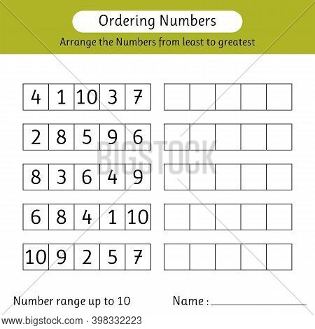 Ordering Numbers Worksheet. Arrange The Numbers From Least To Greatest. Mathematics. Number Range Up