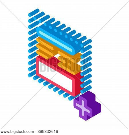 Add New Article On Web Site Icon Vector. Isometric Add New Article On Web Site Sign. Color Isolated