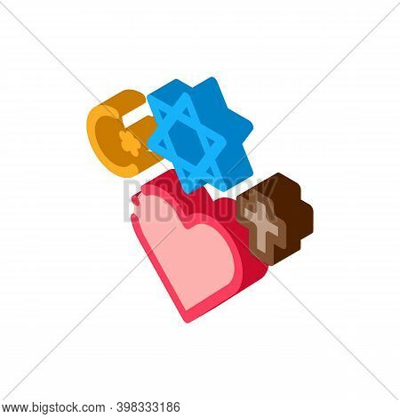 Religious Tolerance Icon Vector. Isometric Religious Tolerance Sign. Color Isolated Symbol Illustrat