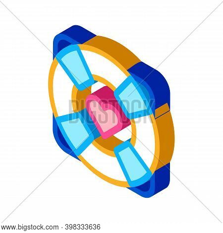Lifebuoy With Heart Icon Vector. Isometric Lifebuoy With Heart Sign. Color Isolated Symbol Illustrat
