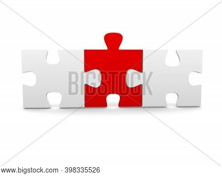 Three Jigsaw Puzzle Pieces Connected On White Background. Teamwork Or Solution Concept. 3d Illustrat