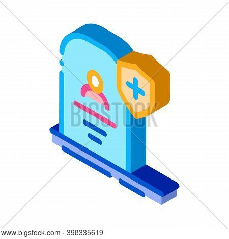 Death Insurance Icon Vector. Isometric Death Insurance Sign. Color Isolated Symbol Illustration