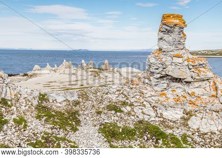 Trollholmsundet On The North-east Cost Of Finnmark Norway. Pilars And Rockformations Which Look Like