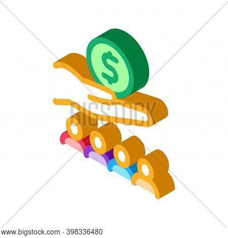 Hand Holding Money Above Human Icon Vector. Isometric Hand Holding Money Above Human Sign. Color Iso