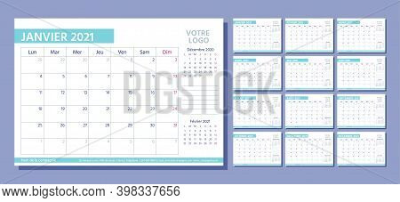 2021 French Planner. Calendar Template. Vector. Week Starts Monday. Calender Layout With 12 Month.ta