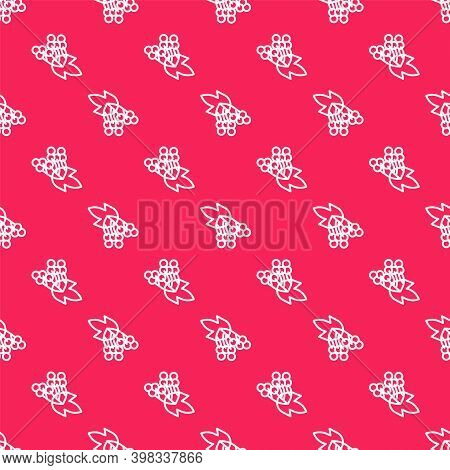 White Line Branch Viburnum Or Guelder Rose Icon Isolated Seamless Pattern On Red Background. Healthf