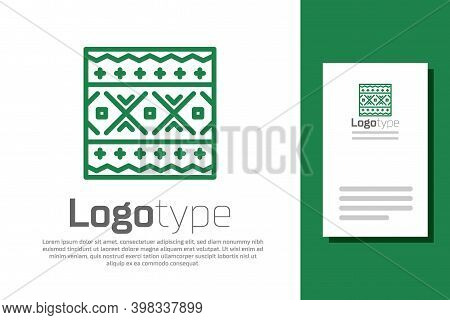 Green Line Ukrainian Ethnic Pattern For Embroidery Icon Isolated On White Background. Traditional Fo