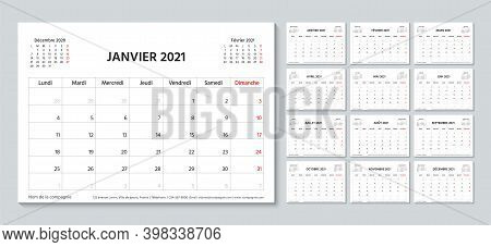 2021 Planner In French. Calendar Template. Week Starts Monday. Vector. Calender Layout.table Schedul