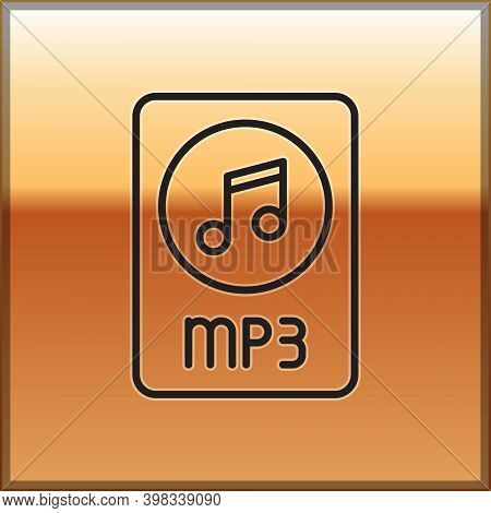 Black Line Mp3 File Document. Download Mp3 Button Icon Isolated On Gold Background. Mp3 Music Format