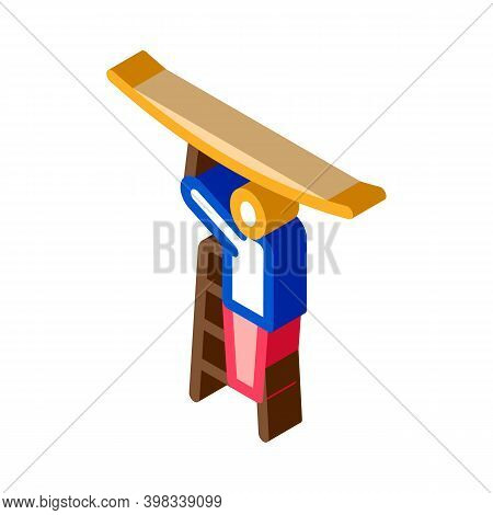 Worker Stretching Ceiling Icon Vector. Isometric Worker Stretching Ceiling Sign. Color Isolated Symb