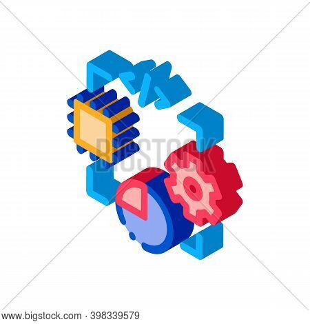 Microchip Programming Code Mechanical Gear And Infographic Icon Vector. Isometric Microchip Programm