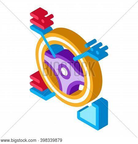 Drive Wheel Characteristics Icon Vector. Isometric Drive Wheel Characteristics Sign. Color Isolated