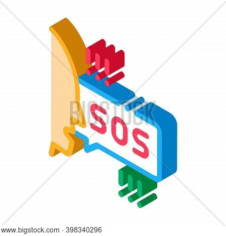 Human Screaming Sos Icon Vector. Isometric Human Screaming Sos Sign. Color Isolated Symbol Illustrat