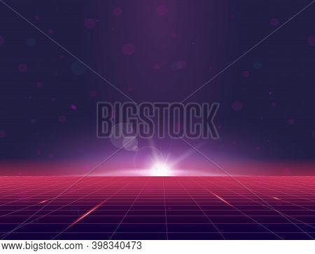 Retro Style Grid Background Eighties Banner. Sun Rising Above Grid Plane. Purple And Pink Gradients