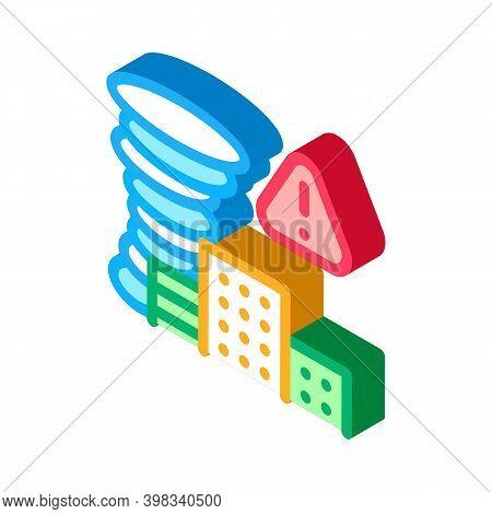 Tornado City Icon Vector. Isometric Tornado City Sign. Color Isolated Symbol Illustration