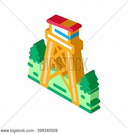 Rescue Forest Tower Icon Vector. Isometric Rescue Forest Tower Sign. Color Isolated Symbol Illustrat