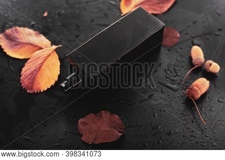 Perfume And Dry Leaves On Wet Background