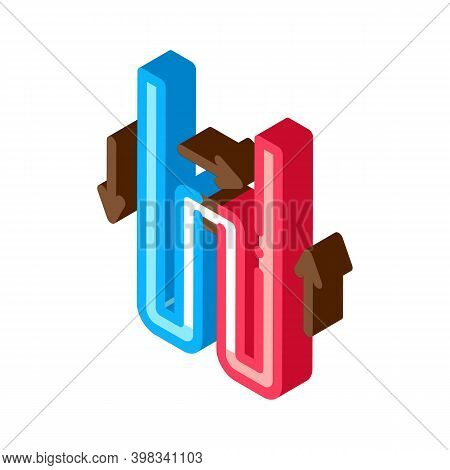 Geothermal Tube Heating Equipment Icon Vector. Isometric Geothermal Tube Heating Equipment Sign. Col