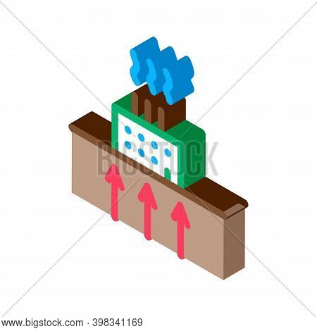 Geothermal Heating Factory Icon Vector. Isometric Geothermal Heating Factory Sign. Color Isolated Sy