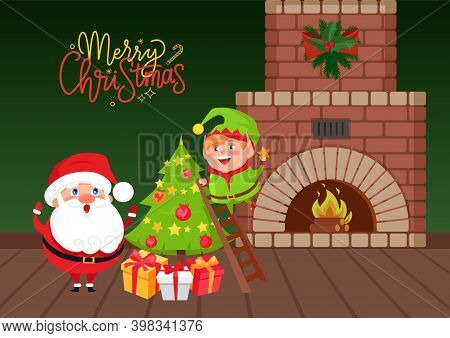 Merry Christmas Greeting Card Vector. Santa And Eve On Staircase Decorated Fir-tree With Balls And S