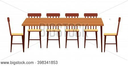 The Dining Room Design Flat Vector Illustration. Wooden Dining Table With Chairs Nearby. Furniture M