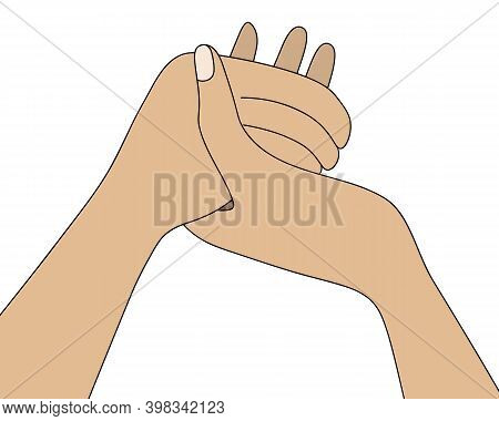 People Are Holding Hands. Prayer At The Dinner Table. Colored Vector Illustration. Isolated White Ba