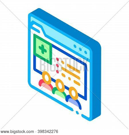 Medical Web Site Visiting People Color Icon Vector. Isometric Medical Web Site Visiting People Sign.