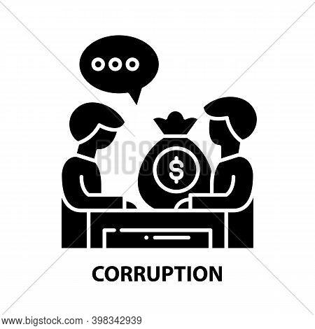 Corruption Icon, Black Vector Sign With Editable Strokes, Concept Illustration