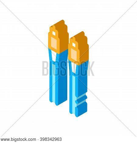 Cables Optical Fiber Color Icon Vector. Isometric Cables Optical Fiber Sign. Color Isolated Symbol I