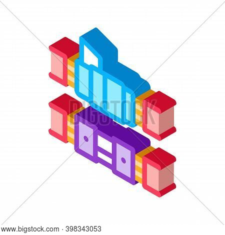 Connected Optical Fiber Color Icon Vector. Isometric Connected Optical Fiber Sign. Color Isolated Sy