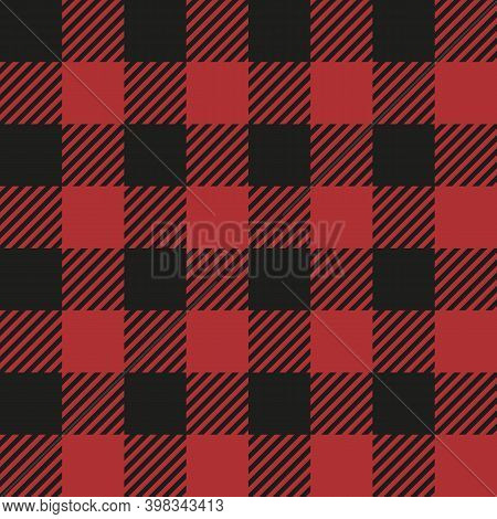 Red Buffalo Check Plaid Seamless Pattern Classic Style Red And Black Buffalo Check Flannel Plaid Sea