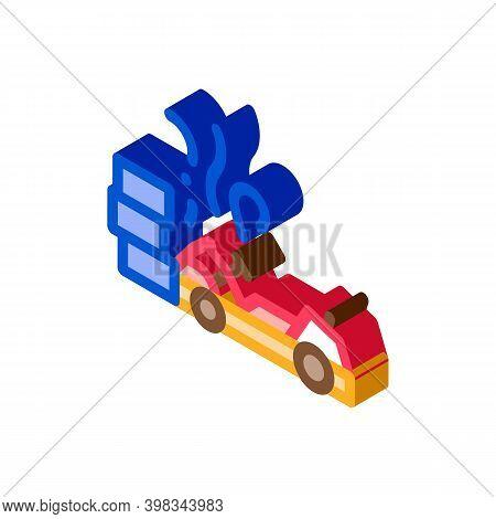 Crash Accident Kart Color Icon Vector. Isometric Crash Accident Kart Sign. Color Isolated Symbol Ill