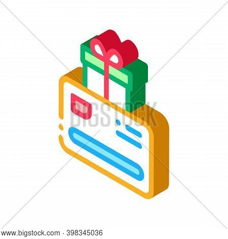 Discount Card Gift For Client Color Icon Vector. Isometric Discount Card Gift For Client Sign. Color