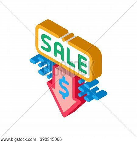 Selling Price Discount Color Icon Vector. Isometric Selling Price Discount Sign. Color Isolated Symb