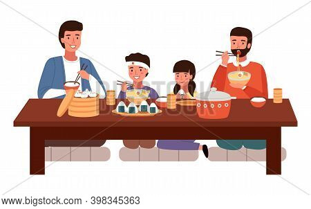 Dining Room In Oriental Style Vector Illustration. Dining Table With Sushi And Manti. Arrangement Of
