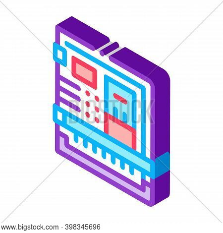 Back Of Computer System With Ports Color Icon Vector. Isometric Back Of Computer System With Ports S