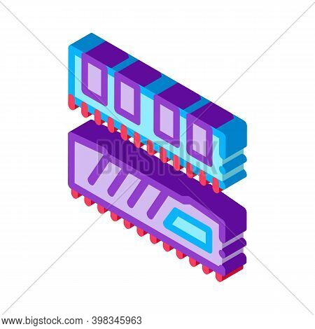 Riser Memory Cards Color Icon Vector. Isometric Riser Memory Cards Sign. Color Isolated Symbol Illus
