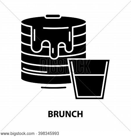 Brunch Icon, Black Vector Sign With Editable Strokes, Concept Illustration
