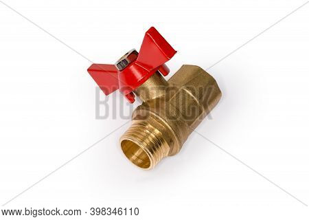 Closed Ball Valve With Brass Body And Red Butterfly Handle On A White Background
