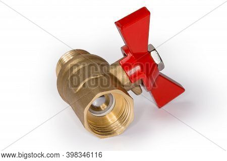 Closed Ball Valve With Brass Body And Red Butterfly Handle On A White Background, Close-up In Select