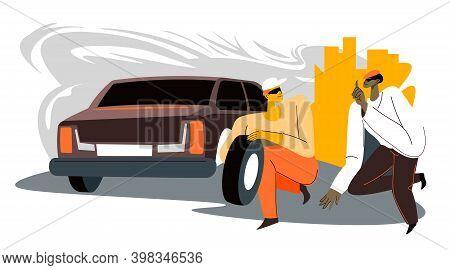 Culprits Stealing Car Tyre At City, Stolen Tires