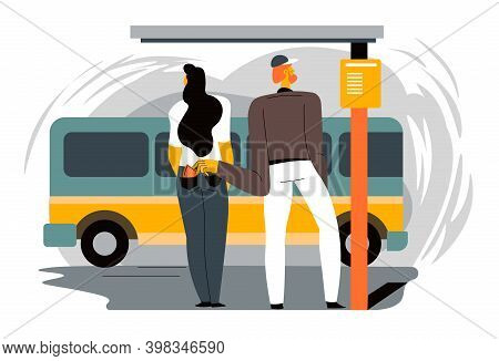 Robber Stealing Wallet From Woman On Bus Stop